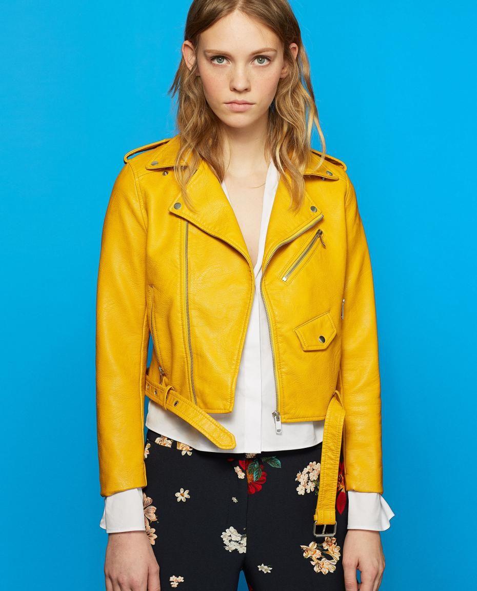 Veste cuir jaune moutarde femme