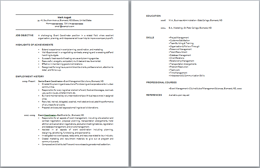 Urban Pie Sample Resume Of Medical Student Personal Statement Http Www Job Event Coordinator Job Description Sample Resume Templates Event Coordinator Jobs