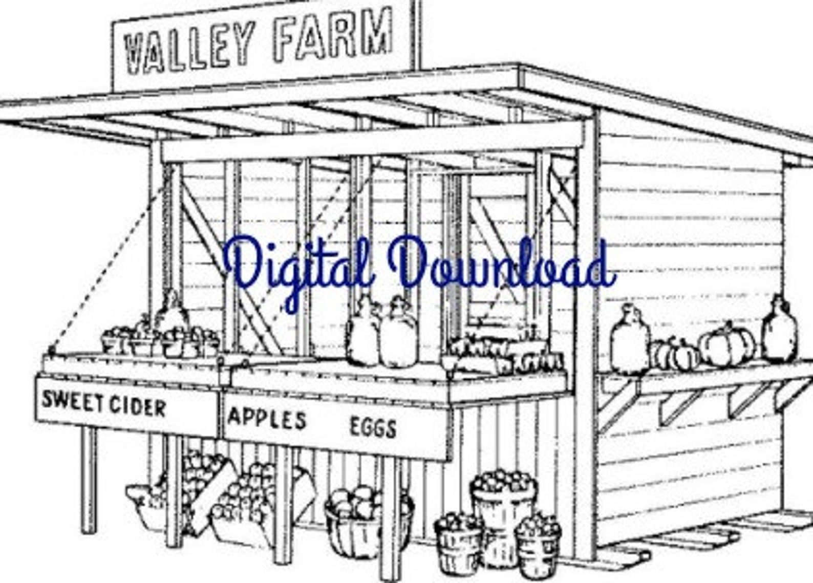 Roadside Fruit Vegetable Farm Stand, Vintage Woodworking