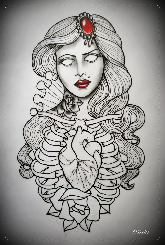 DEAD GIRL tattoo flash OUTLINE by oldSkullLovebyMW ~A.R ...