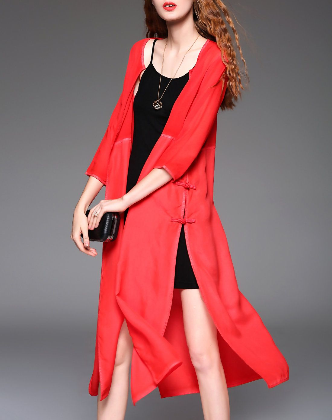 #AdoreWe #VIPme Swing Dresses - ZERACO Red Silk Elegant Kimono Cardigan - AdoreWe.com
