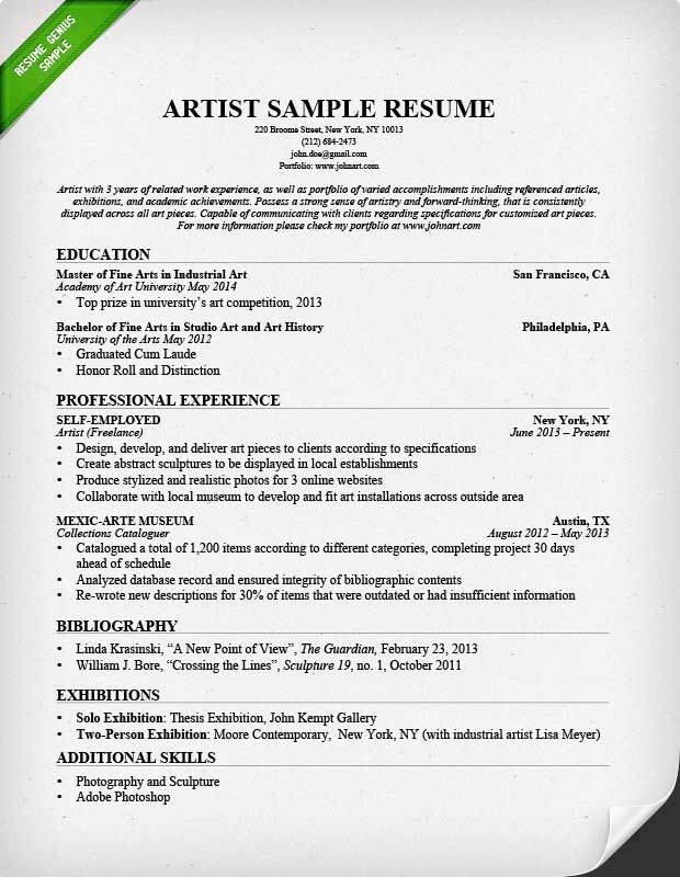 artist resume sample Art Artist resume, Job resume samples