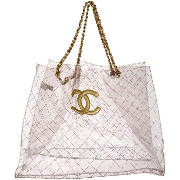 3b1378100c65 Pre-owned Chanel Vinyl CC XXL Tote (7.710 BRL) ❤ liked on Polyvore  featuring bags, handbags, tote bags, clear, clear purse, pink tote, chanel  tote bag, ...