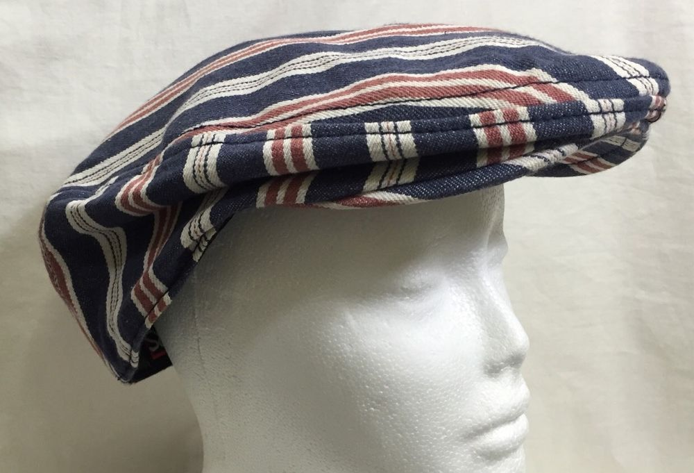 d9723dfa5c774 Headers California Flat Cap Newsboy Golf Driving Large Cotton Striped Lined  | eBay