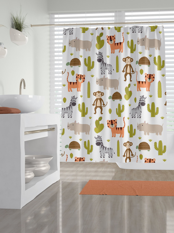 Safari Animal Fabric Shower Curtain Kid S Bathroom Curtain