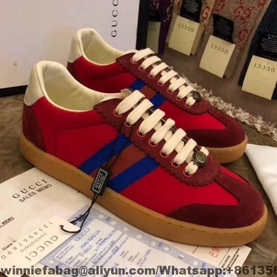 a7ff5d0720a Gucci Nylon and suede Web Sneaker For Women and Men 2018