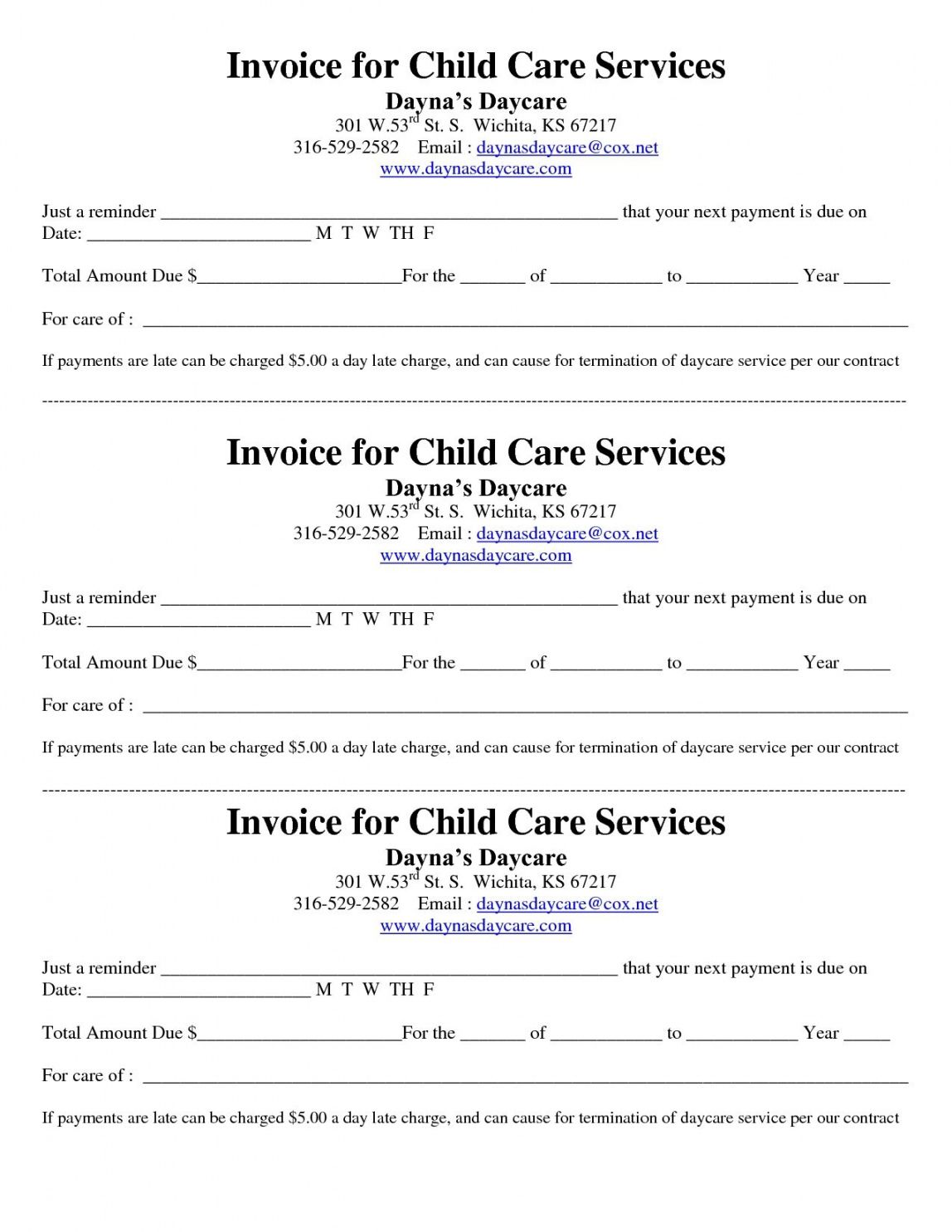 Explore Our Printable Child Care Receipt Template Daycare Forms Childcare Receipt Template