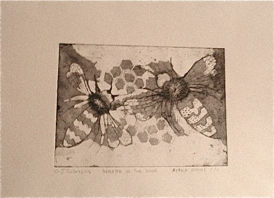etching of bees unfinished and now i've lost the plate