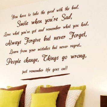 Small Life goes on Wall Art Quotes / Wall Stickers / Wall Decals ...