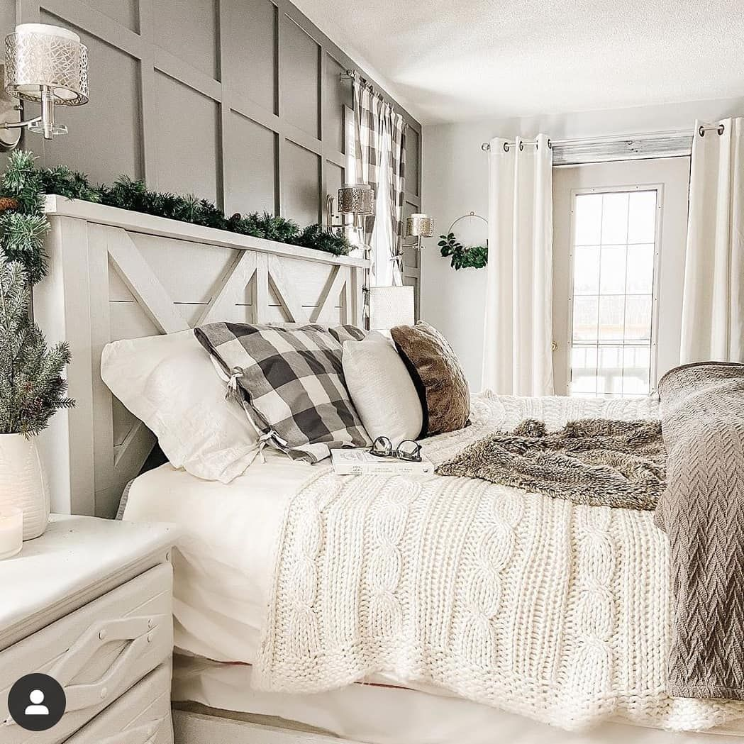 Farmhouse Stylebook On Instagram Love This Cozy Gray And White Cream Bedroom From Homesweetlakehouse Farmhouse In 2020 Cream Bedrooms Bedroom Refresh Home Decor