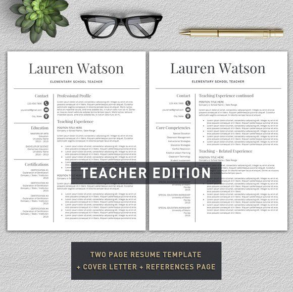 Teacher Resume  Cv  Cover Letter By ProGraphicDesign On