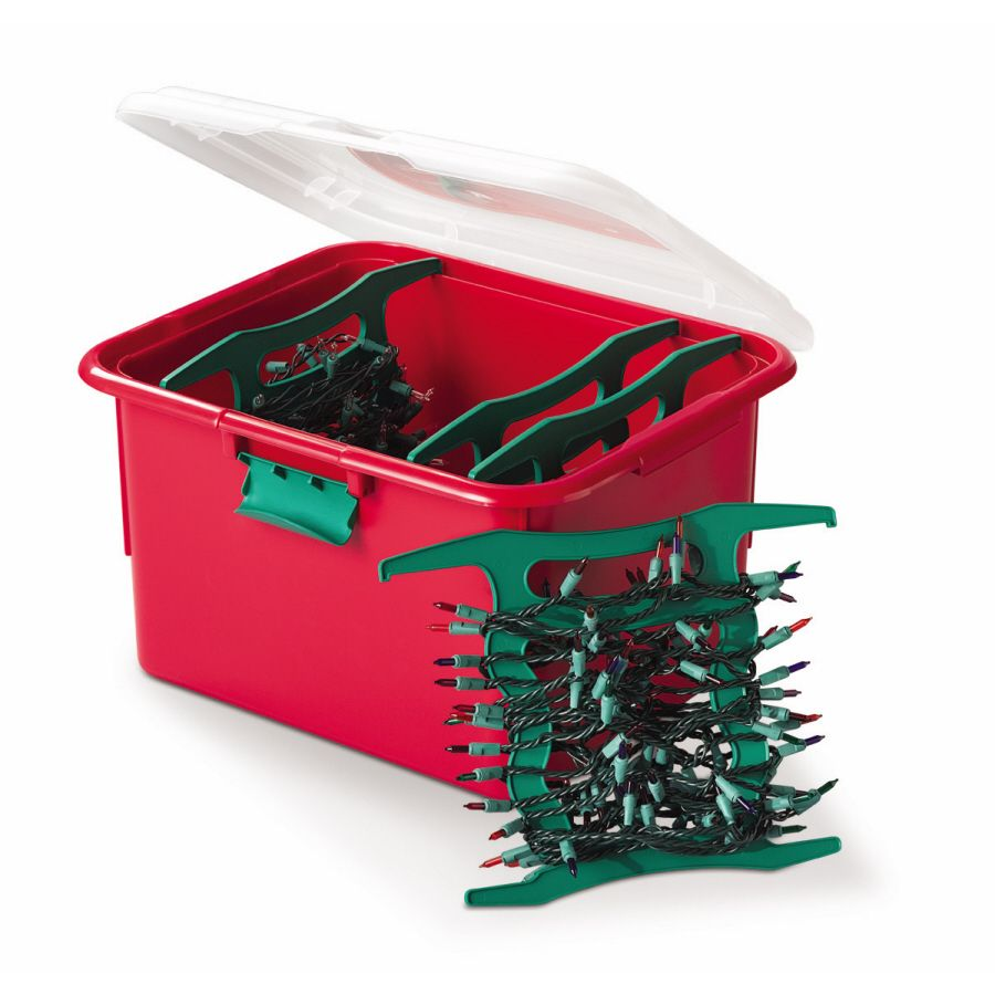 avoid the headache of untangling christmas lights year after year stow string lights on spindles within this storage container