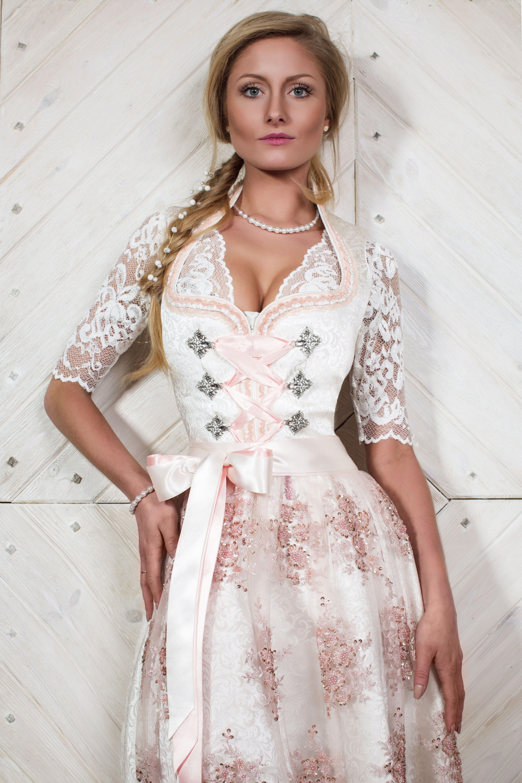 alpenherz brautdirndl ein hochzeitskleid in wei und rosa mit spitze samt und liebe zum. Black Bedroom Furniture Sets. Home Design Ideas