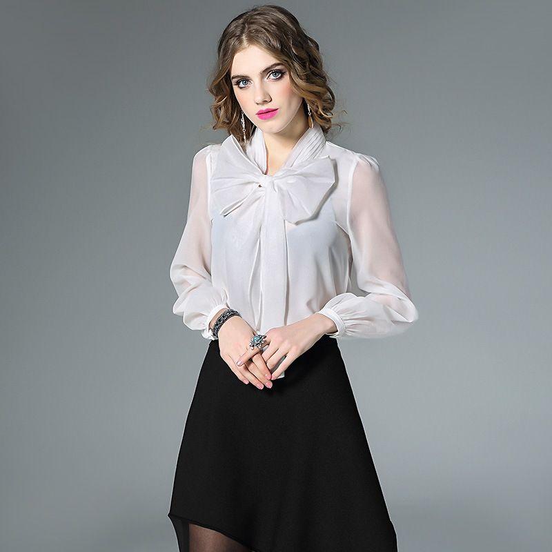 2068734c707d0 017 New Spring Autumn OL Formal Blouses Women Luxury Silk Shirts big Bow  tie Collar transparent