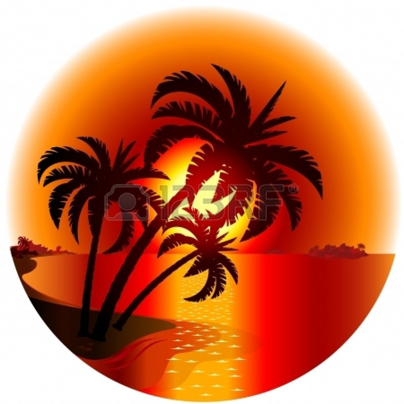 Sunset on a tropical island. Illustration on white background Stock Vector