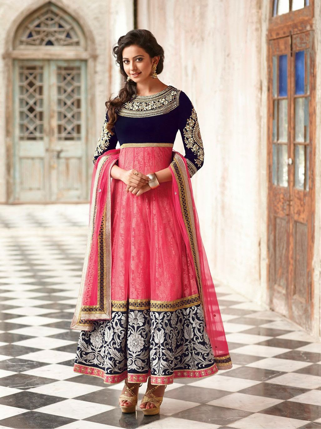Rakul singh pink semi stitched salwar suit products pinterest