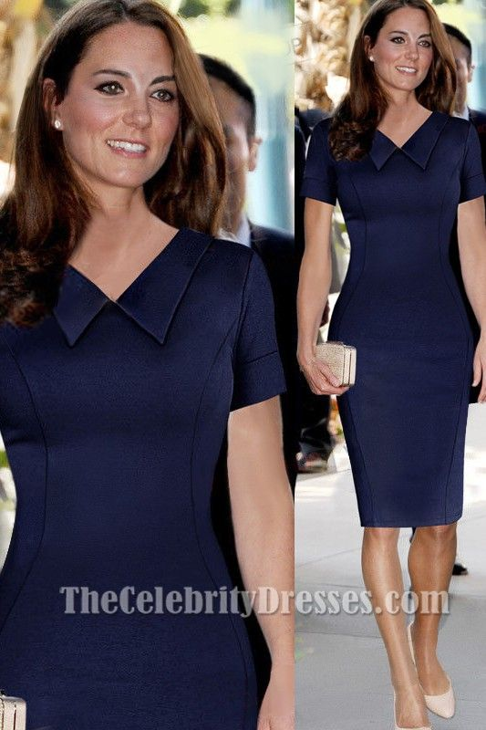 Kate Middleton Knee Length Navy Cocktail Party Dresses Tcdtb002 In