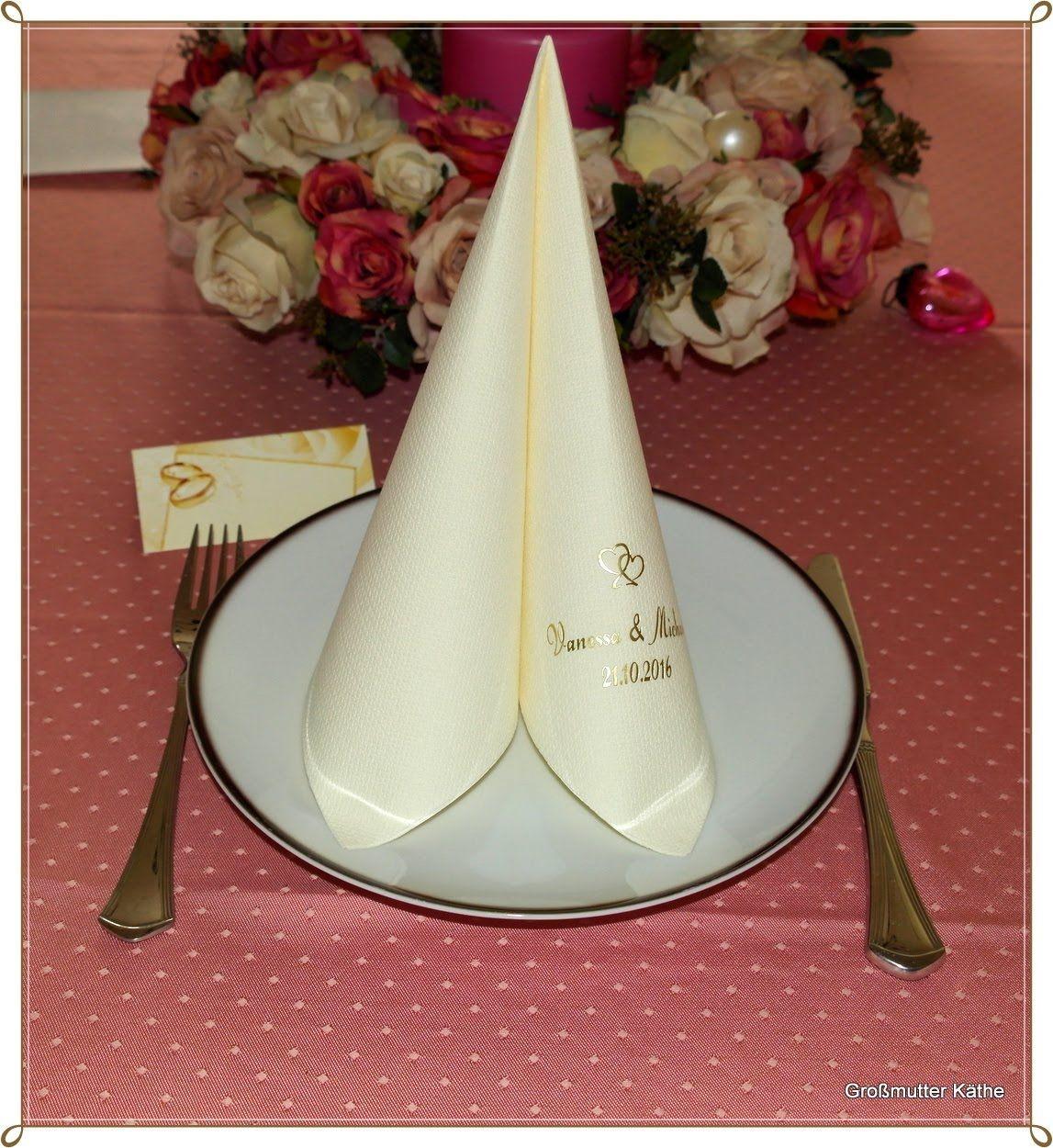 Tafelspitz falten zur Hochzeit -  Dinner Hochzeitsserviette Tafelspitz