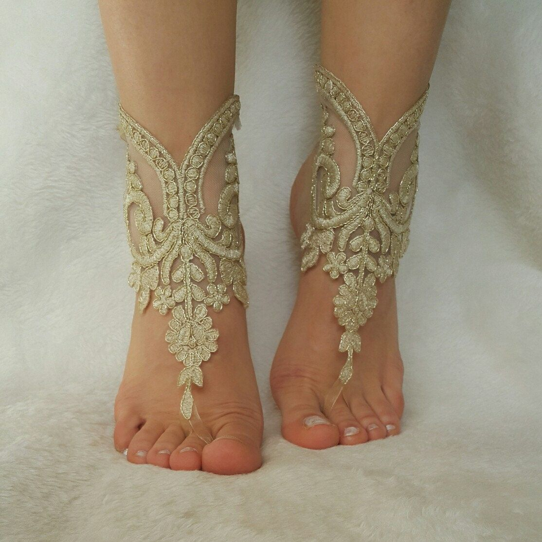 Cappuccino Gold Frame Beach Wedding Sandals Steampunk Foot Accessory Anklet Country Barefeet Bellydance Free Ship Bridesmaid Gift
