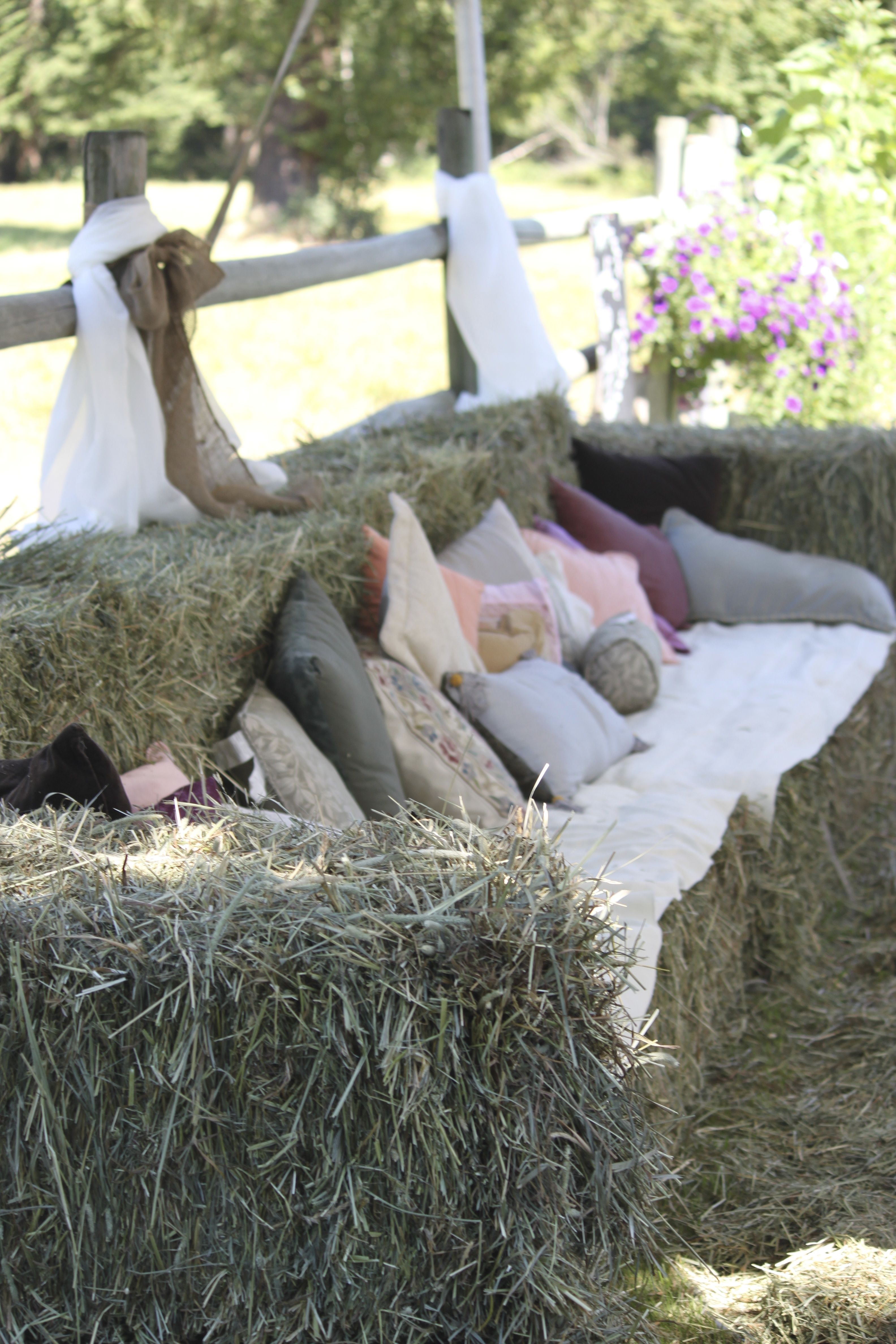 Hay bale sofa - was a great place to sit and visit.
