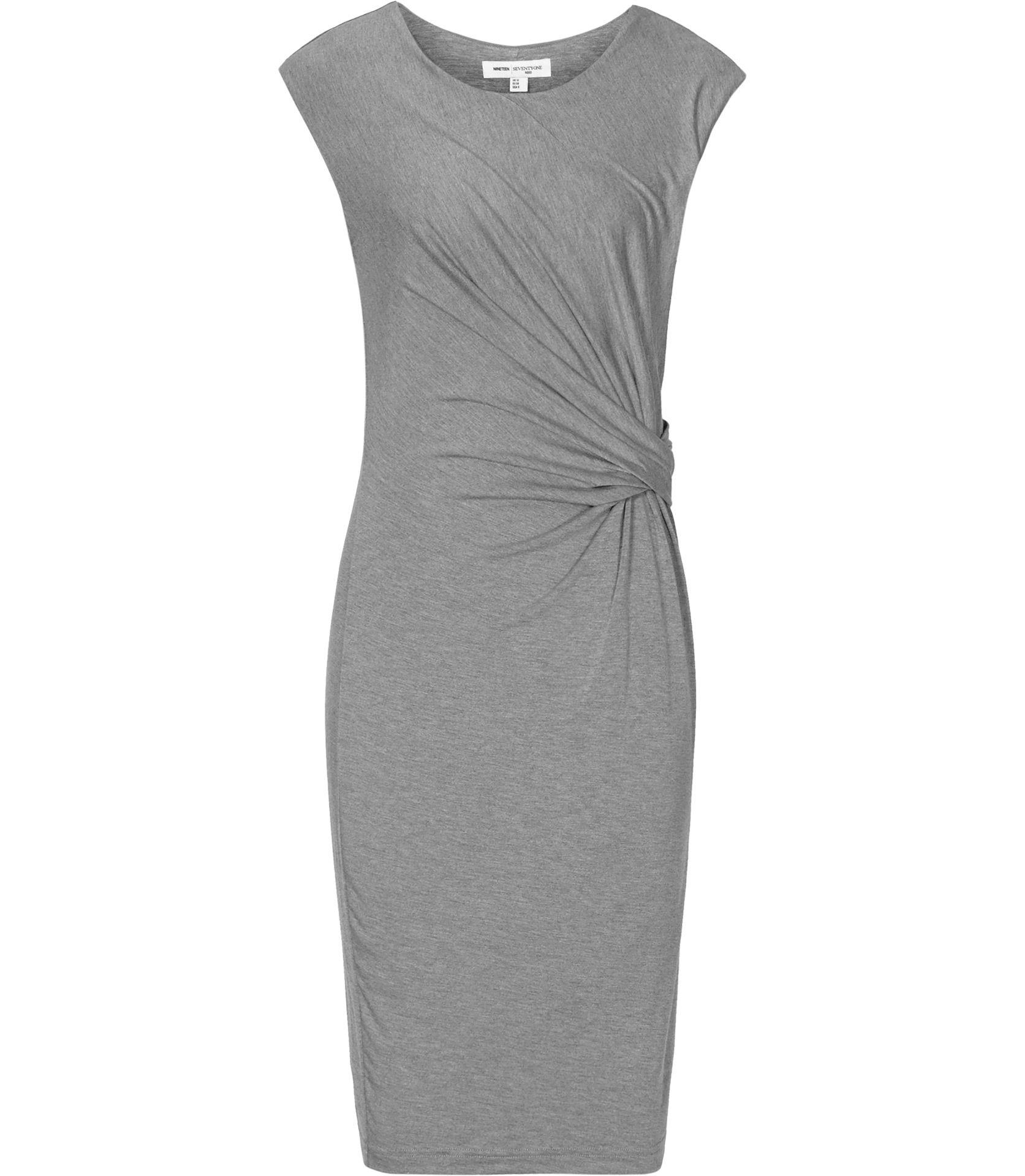 Reiss Costa Plain Grey Melange Wrap Dress
