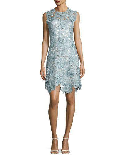 0023e7710 TDAG9 Catherine Deane Sleeveless Rosette Lace Cocktail Dress, Metallic Blue /Steel