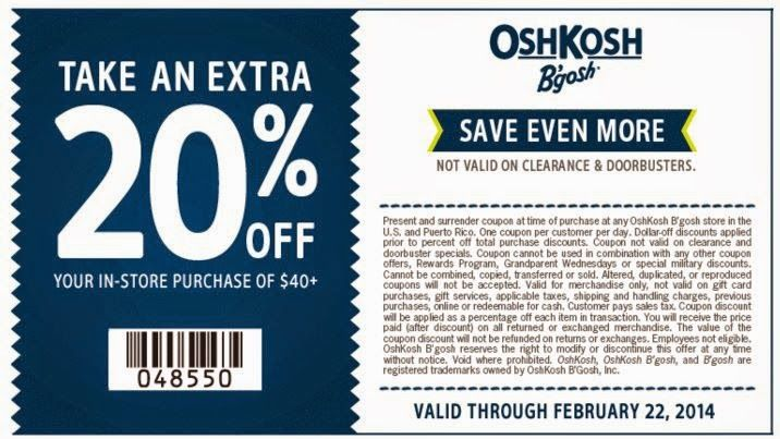 photograph about Oshkosh Printable Coupon titled Cost-free Printable Discount coupons: OshKosh Bgosh Discount coupons Absolutely free