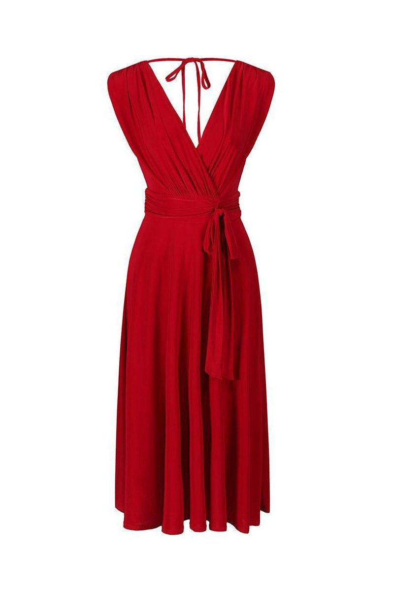 ee9b6d8363b1 Red Crossover Top Empire Waist 50s Swing Cocktail Dress in 2019 ...