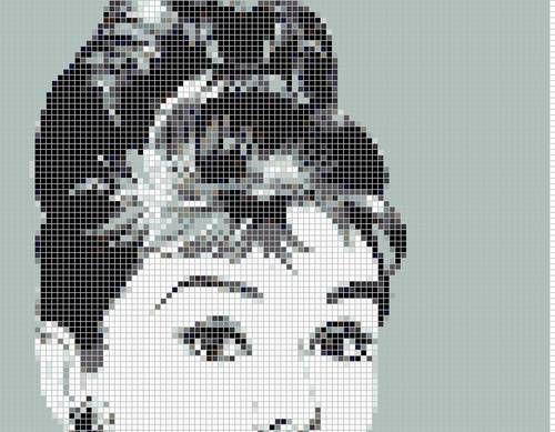 Вышивка крестом схема одри хепберн