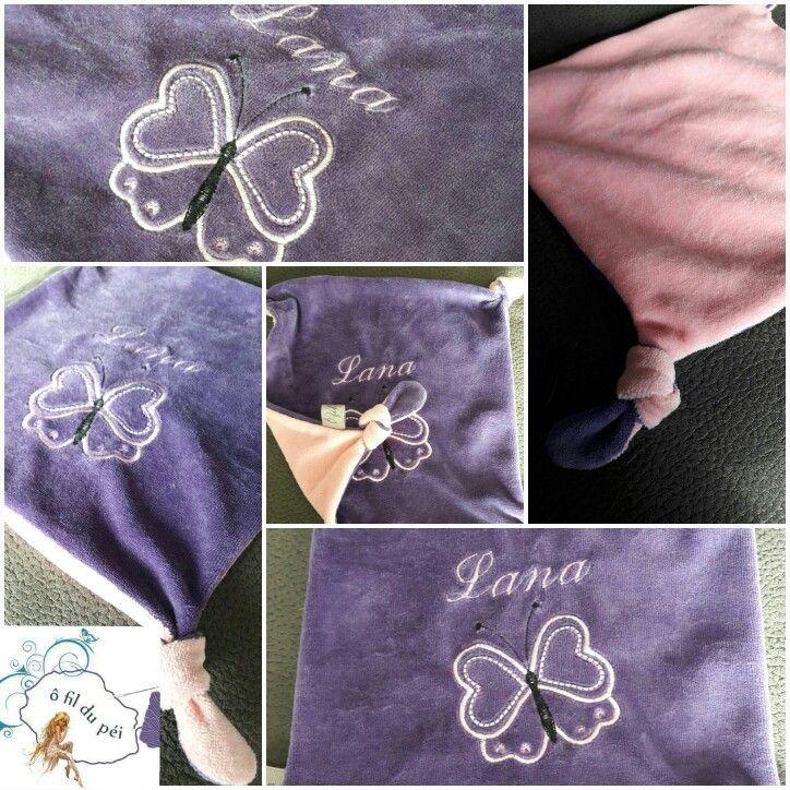 doudou noeuds violet et rose motif papillon Doudou Nœuds motif tortue couleurs turquoise gris et vert #doudounoeuds #papillon #butterfly #purple #violet #rose #pink #personnalisé #prénom #idéecadeau #giftbirth