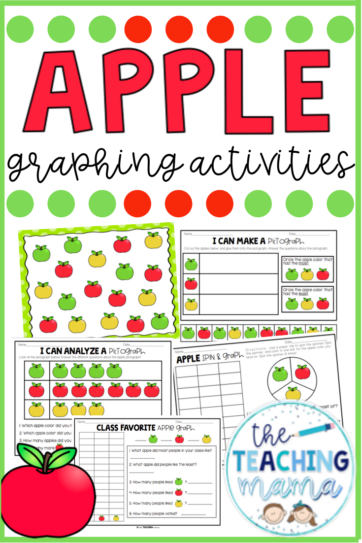 Apple Graphing Includes Five Apple Themed Graphing Activities For Your Students To Practice Colle Graphing Activities Kindergarten Math Activities Math Centers [ 1102 x 735 Pixel ]