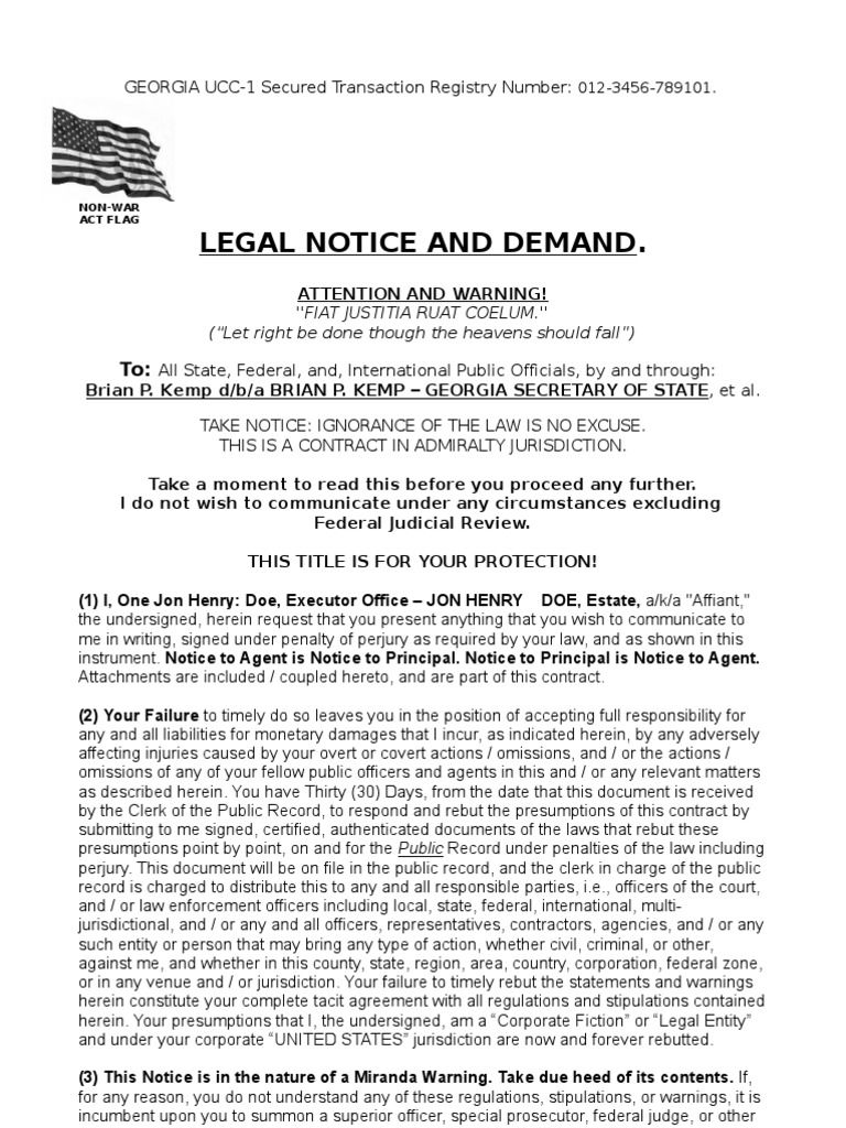 This Legal Notice And Demand Helps Protect The Sovereign By Way Of Affidavit For Declaration Of Rights Counterclaim And Contr Legal Notice Legal Forms Legal