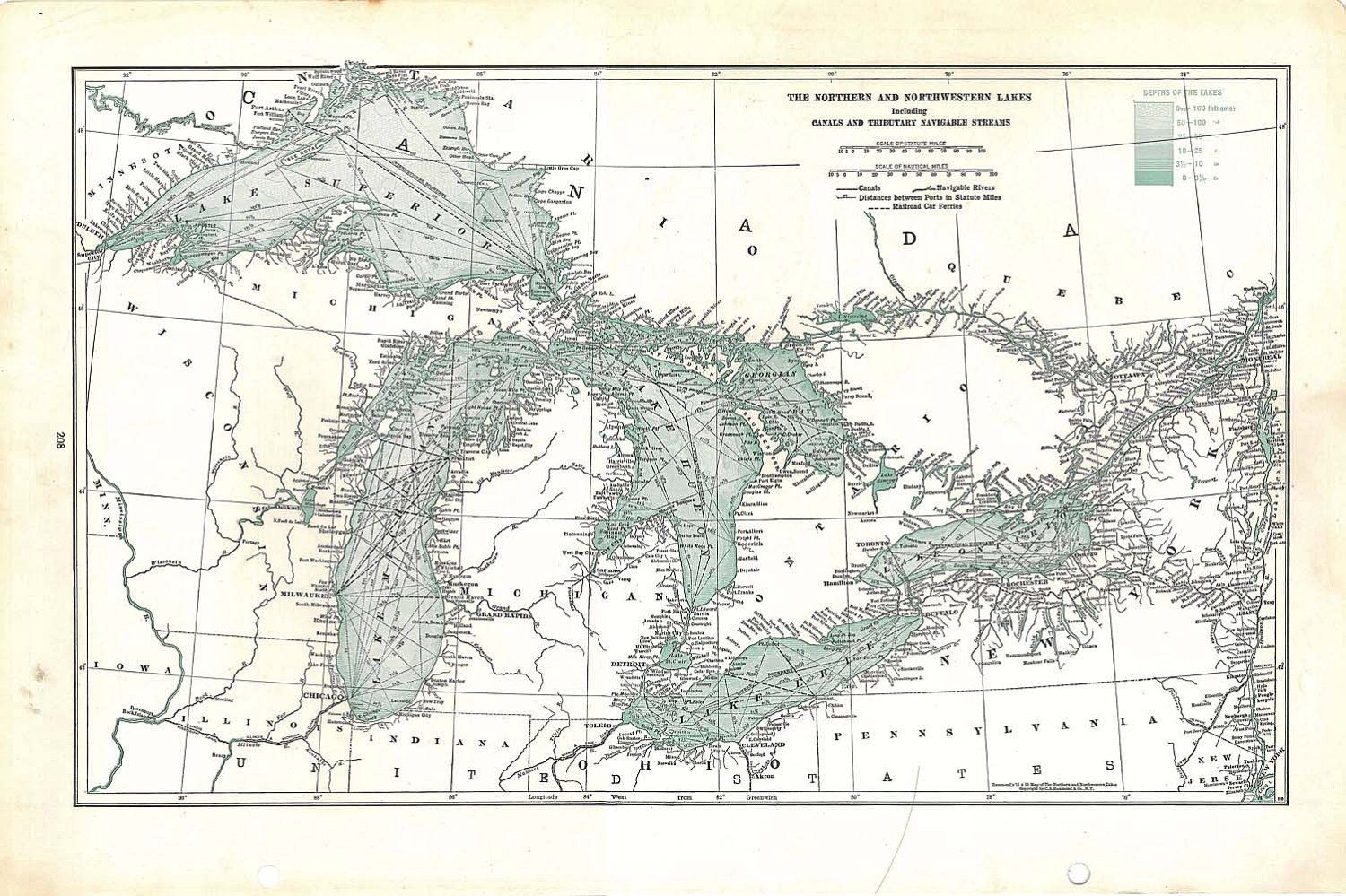 S Vintage Great Lakes Map Except Barren River Lake For The - Great lakes in usa map