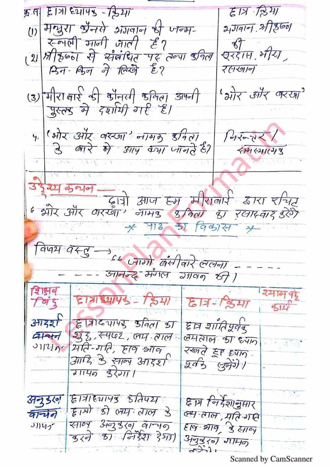 Hindi Lesson Plan Class 7 | हिंदी कक्षा 7 पाठ योजना