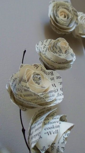 Paper roses paper roses meus pins pinterest paper roses rolled paper roses tutorial i could use pretty double sided scrap book paper and glue on stems to put in vintage bottles or a mix of vintage book pages mightylinksfo