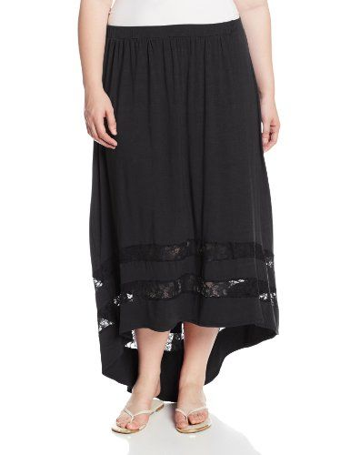 Fashion Bug Womens Plus Size Maxi Skirt with Lace Inset and High Low Hem. www.fashionbug.us #curvy #plussize #FashionBug