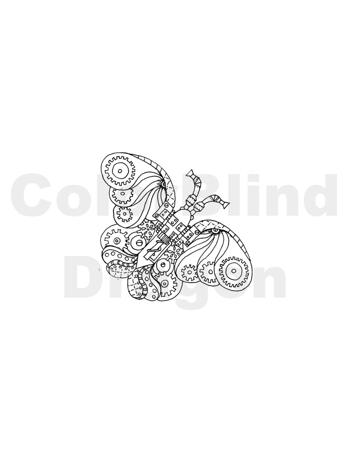 Steampunk butterfly, butterfly coloring pages, adult coloring pages ...
