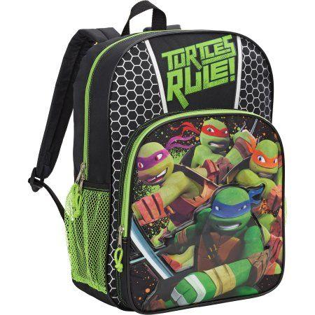 """Nickelodeon Teenage Mutant Ninja Turtles 16/"""" All Printed Green Backpack"""