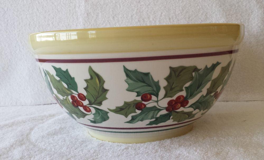 Longaberger Dinnerware Serving \u0026 Pottery Collectibles | eBay & Longaberger Pottery American Holly Christmas Bowl | Longaberger ...