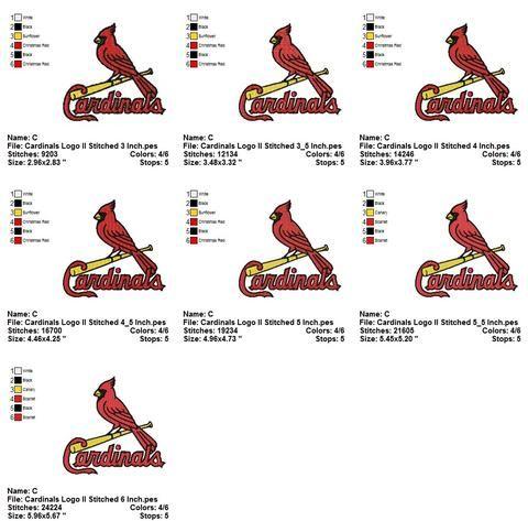 St Louis Cardinals 1 One Bird Sports Logos Embroidery Machine