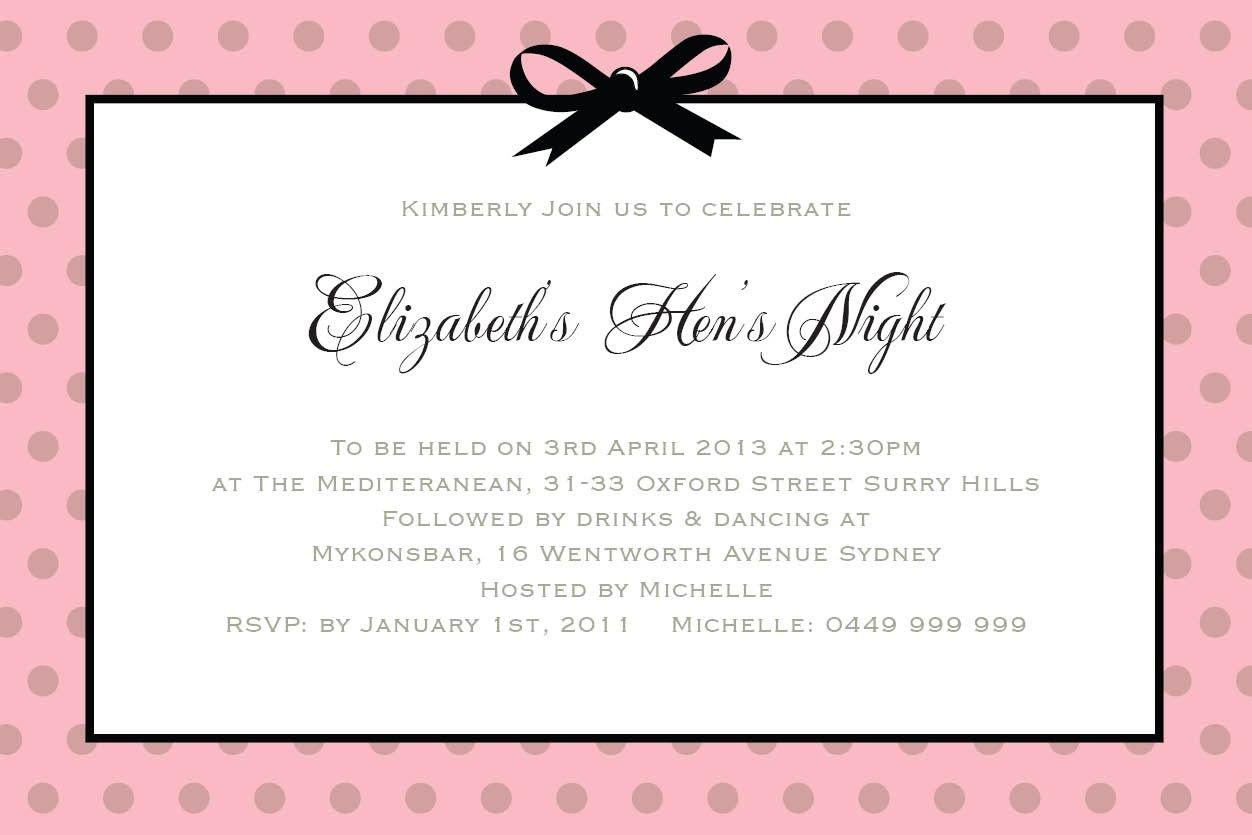 hen party invite wording
