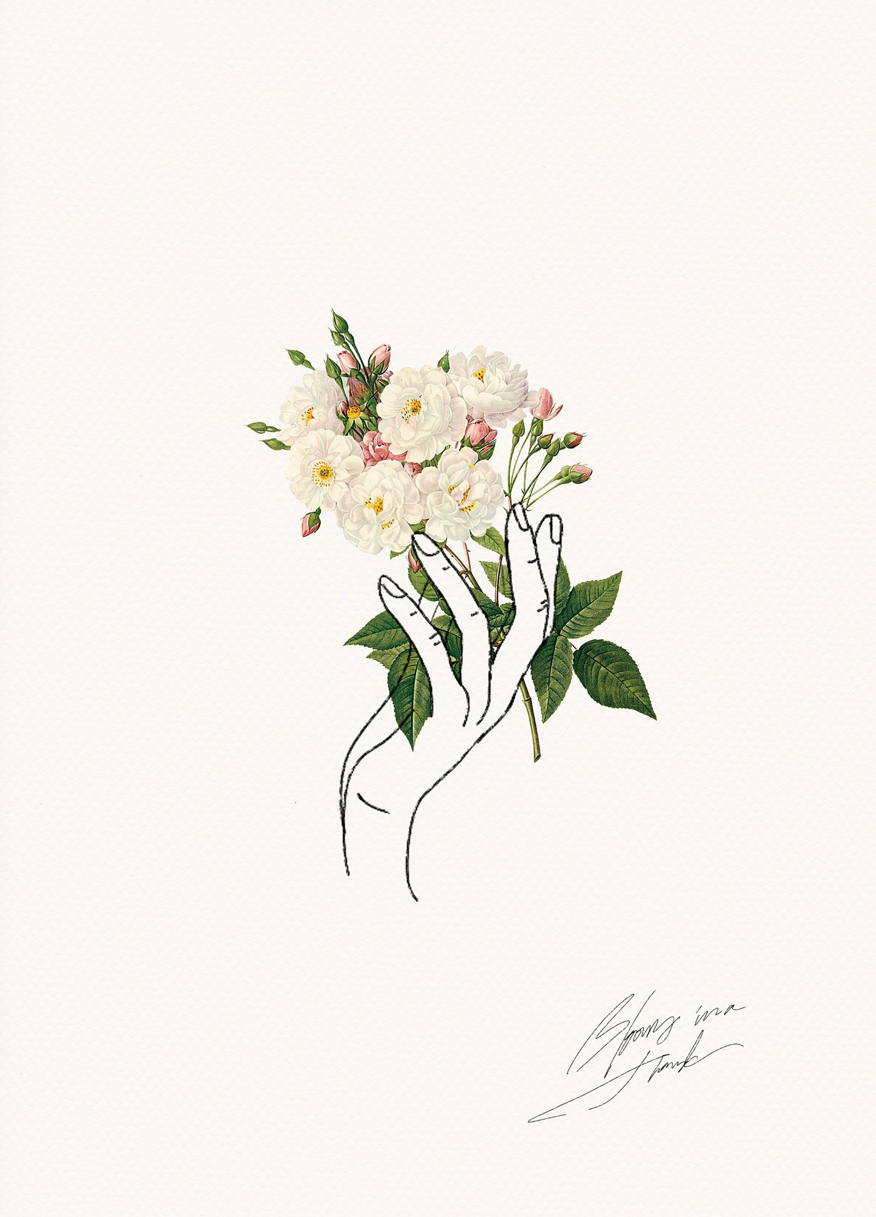 Cute Flower Line Drawing : Holding flowers illustrations and tattoo