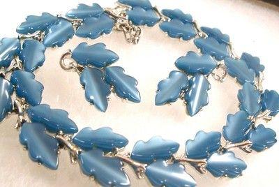 Vintage Lisner Blue Thermoset Necklace Earrings Set Demi