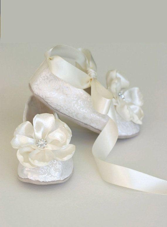 Baby White Ivory Christening Baptism Shoes Satin Pink Bow Rhinestone CrownTiara