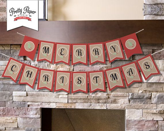 INSTANT DOWNLOAD //Merry Christmas Banner // Holiday Bunting // Party Decor by ThePrettyPaperStudio, $8.00 CDN