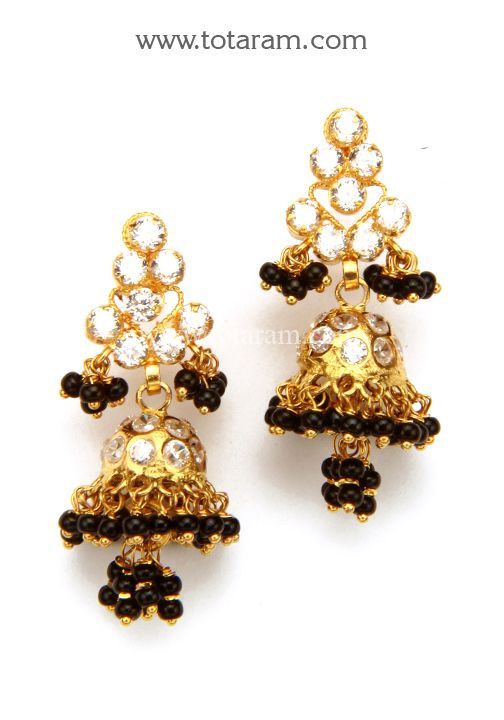 22k Gold Jhumkas With Cz Black Beads