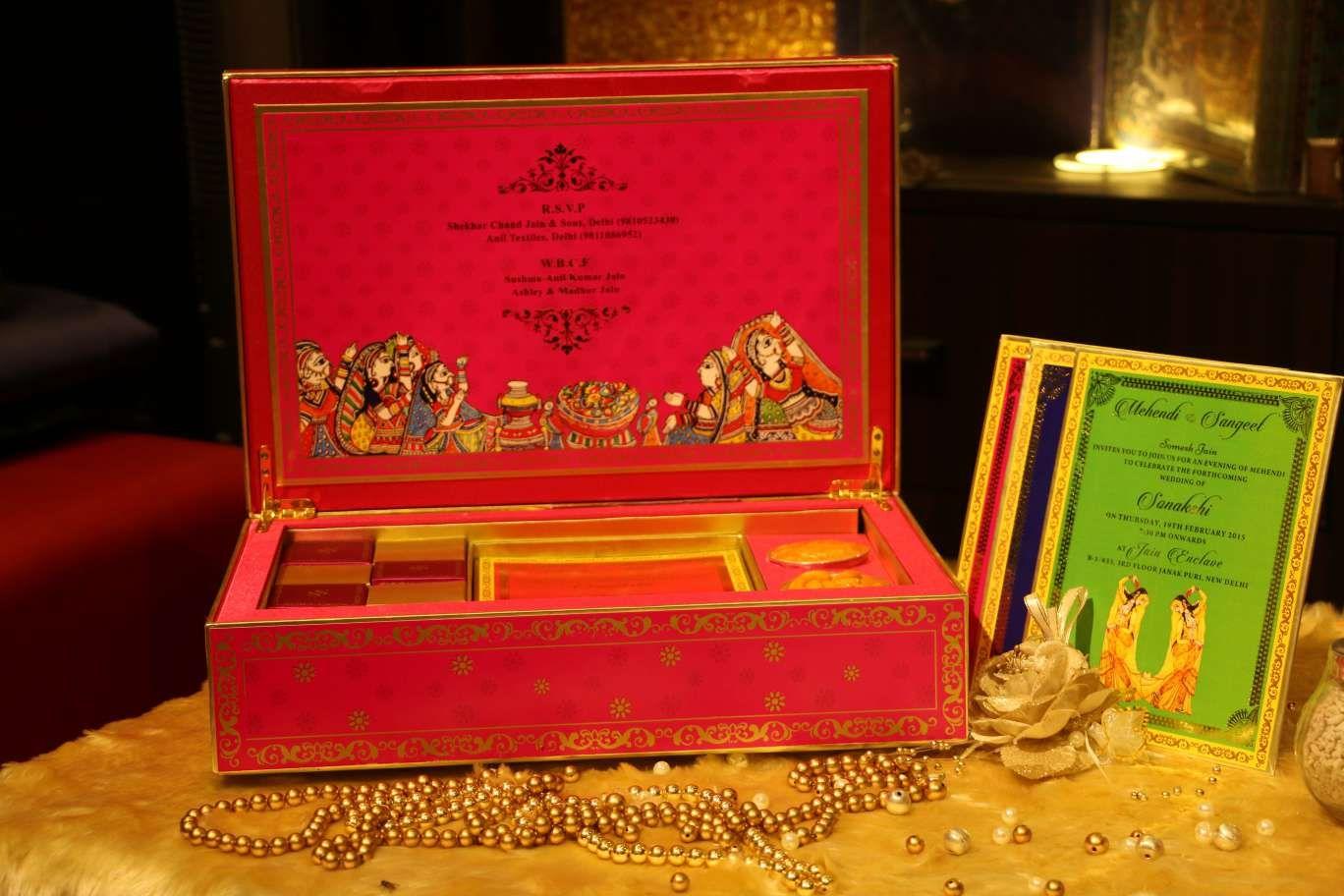 green-blue-pink-wedding-cards-box #newdelhi #weddinginvitation ...