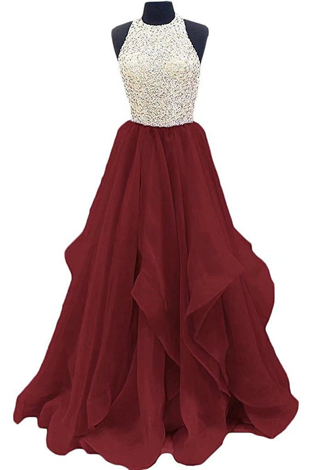 119dcfaf3 FNKS CRAFT Beaded Long Prom Dresses Sweet 16 Party Gown 2018 Evening Dresses  at Amazon Women s Clothing store