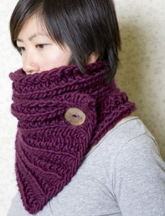 Plum Duality Neckwarmer Extra Long by knittles on Etsy | Knitting ...