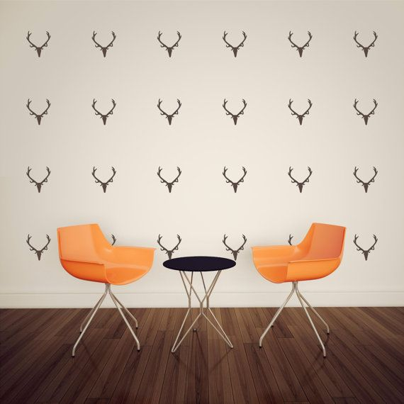wall pattern antlers deer skull wallpaper vinyl decor wall lettering